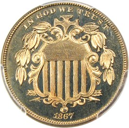 Image of 1867 5c PCGS/CAC Proof 66 CAM (No Rays)