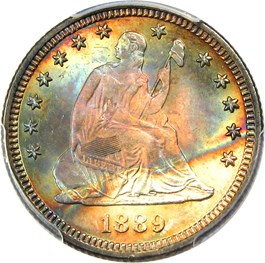 Image of 1889 25c PCGS/CAC MS67+