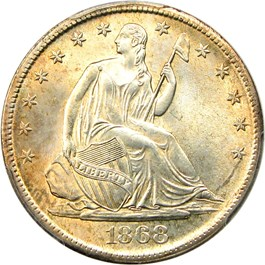 Image of 1868-S 50c PCGS/CAC MS64+