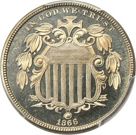 Image of 1866 5c PCGS/CAC Proof 66 CAM (With Rays)