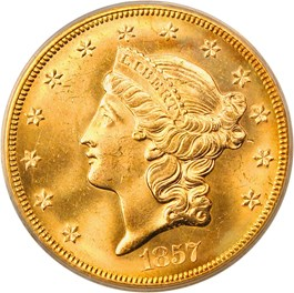 Image of 1857-S Central America Shipwreck $20 PCGS MS64 (Gold Foil Label, Box & COA)