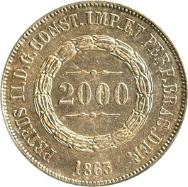 Image of Brazil: 1863 Silver 2000 Reis PCGS AU55 (KM-466) .7518oz Silver