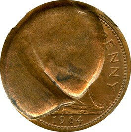 Image of Great Britain: Mint Error 1964 Bronze Penny NGC MS65 RB (Reverse Double Indent)