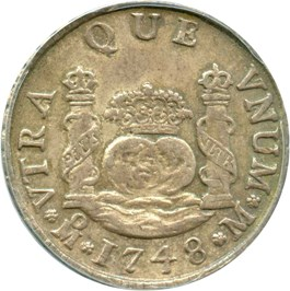 Image of Mexico: 1748-Mo, M Silver 2 Reales ANACS AU50 (KM-86.1) .1995oz Silver