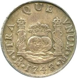 Image of Mexico: 1748-Mo, M Silver 2 Reales ANACS AU50 (KM-86.1) .1995oz Silver