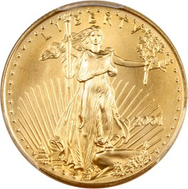 Image of 2001 Gold Eagle $25 PCGS MS69