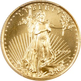 Image of 1999-W Gold Eagle $10 PCGS MS69 (Unfinished PR Dies)