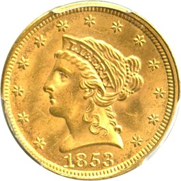 Image of 1853 $2 1/2 PCGS MS63+