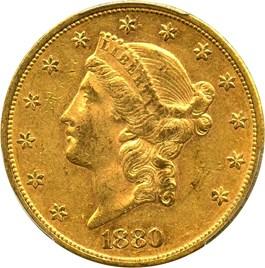 Image of 1880 $20 PCGS/CAC AU55