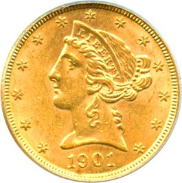 Image of 1901 $5 PCGS MS62