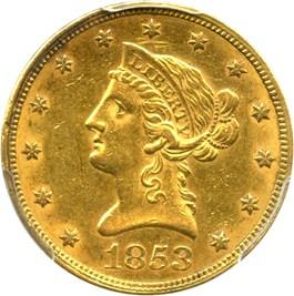 Image of 1853 $10 PCGS AU55