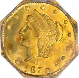 Image of 1870 Cal. Gold 25c PCGS AU58 (OGH, BG-761)