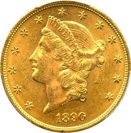 Image of 1890 $20 PCGS MS62
