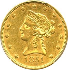 Image of 1851 $10 PCGS AU50