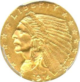Image of 1914 $2 1/2 PCGS MS62