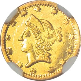 Image of 1864 Cal. Gold 50c NGC MS63 (BG-1016)