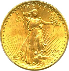 Image of 1924 $20 PCGS/CAC MS65