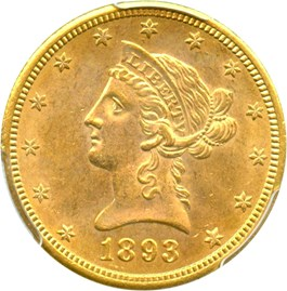 Image of 1893-S $10 PCGS Secure MS63 (Simpson-Hall Collection)
