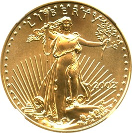 Image of 2002 Gold Eagle $25 NGC MS69