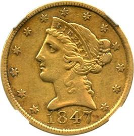 Image of 1847 $5 NGC XF45