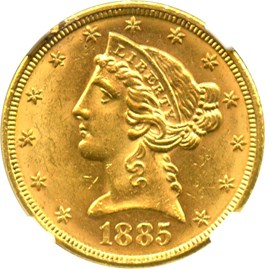 Image of 1885 $5 NGC MS63