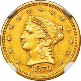 Image of 1870 $2 1/2 NGC/CAC AU58+