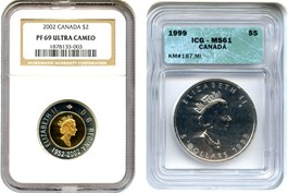 Image of Canada: 2002 Bimetallic $2 NGC PR69 UCAM & 1999 Silver $5 Maple Leaf ICG MS61