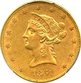 Image of 1861 $10 PCGS/CAC AU58