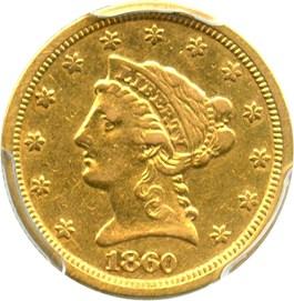 Image of 1860-S $2 1/2 PCGS XF40