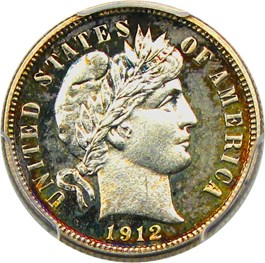 Image of 1912 10c PCGS/CAC Proof 64