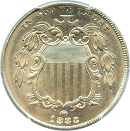 Image of 1883 Shield 5c PCGS/CAC MS65