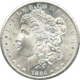 Image of 1884-CC $1 NGC/GSA MS64+ (with Government Box and COA)