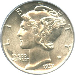 Image of 1937 10c PCGS MS65 FB