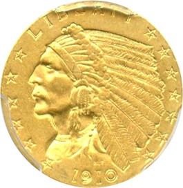Image of 1910 $2 1/2 PCGS AU58
