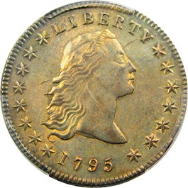 Image of 1795 Flowing Hair $1 PCGS Secure/CAC AU58 (3 Leaves)