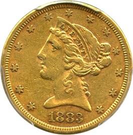 Image of 1883-S $5 PCGS XF45