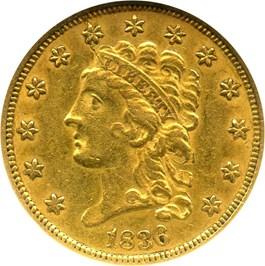 Image of 1836 $2.50 NGC AU58 (Script 8)