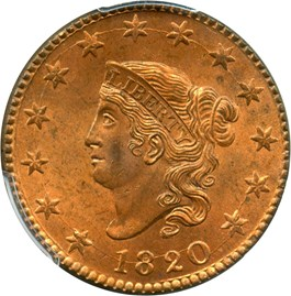 Image of 1820 1c PCGS/CAC MS65 RB (Large Date)