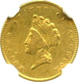 Image of 1855-O G$1 NGC VF30 (Type 2)