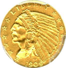 Image of 1909 $2 1/2 PCGS MS61