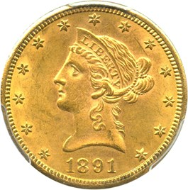 Image of 1891-CC $10 PCGS/CAC MS61