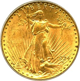 Image of 1924 $20 PCGS MS64 (OGH)