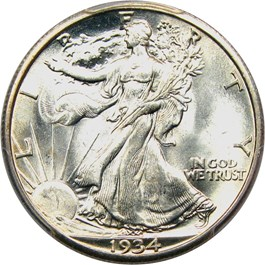 Image of 1934-S 50c PCGS/CAC MS65