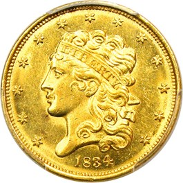 Image of 1834 Classic Head $5 PCGS MS64 (Plain 4)