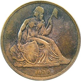 Image of 1836 Gobrecht $1 PCGS/CAC Proof 25 (Name on Base, Original, Medal Alignment)