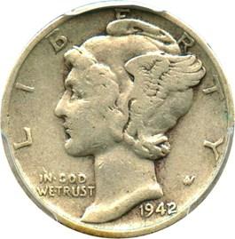 Image of 1942/1 10c PCGS/CAC VF30
