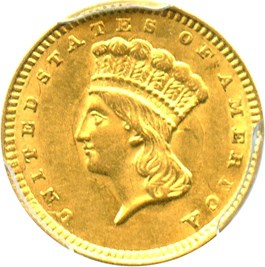 Image of 1857 G$1 PCGS MS62