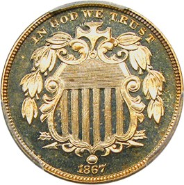 Image of 1867 5c PCGS Proof 65 CAM (No Rays, Pattern Rev.)