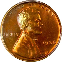Image of 1936 1c PCGS Proof 65 RB (Type 2, Brilliant Finish)