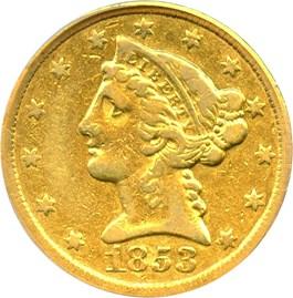 Image of 1853-C $5 PCGS VF30